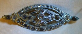 Antique Art Deco 1920s-30s Rhodium Bar PIN Brooch Clear & Chocolate Rhin... - $35.00