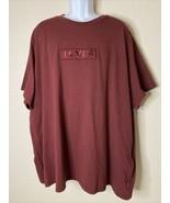 NWT Levi's Men Size 4XL Maroon Logo T Shirt Thick Cotton - $27.72
