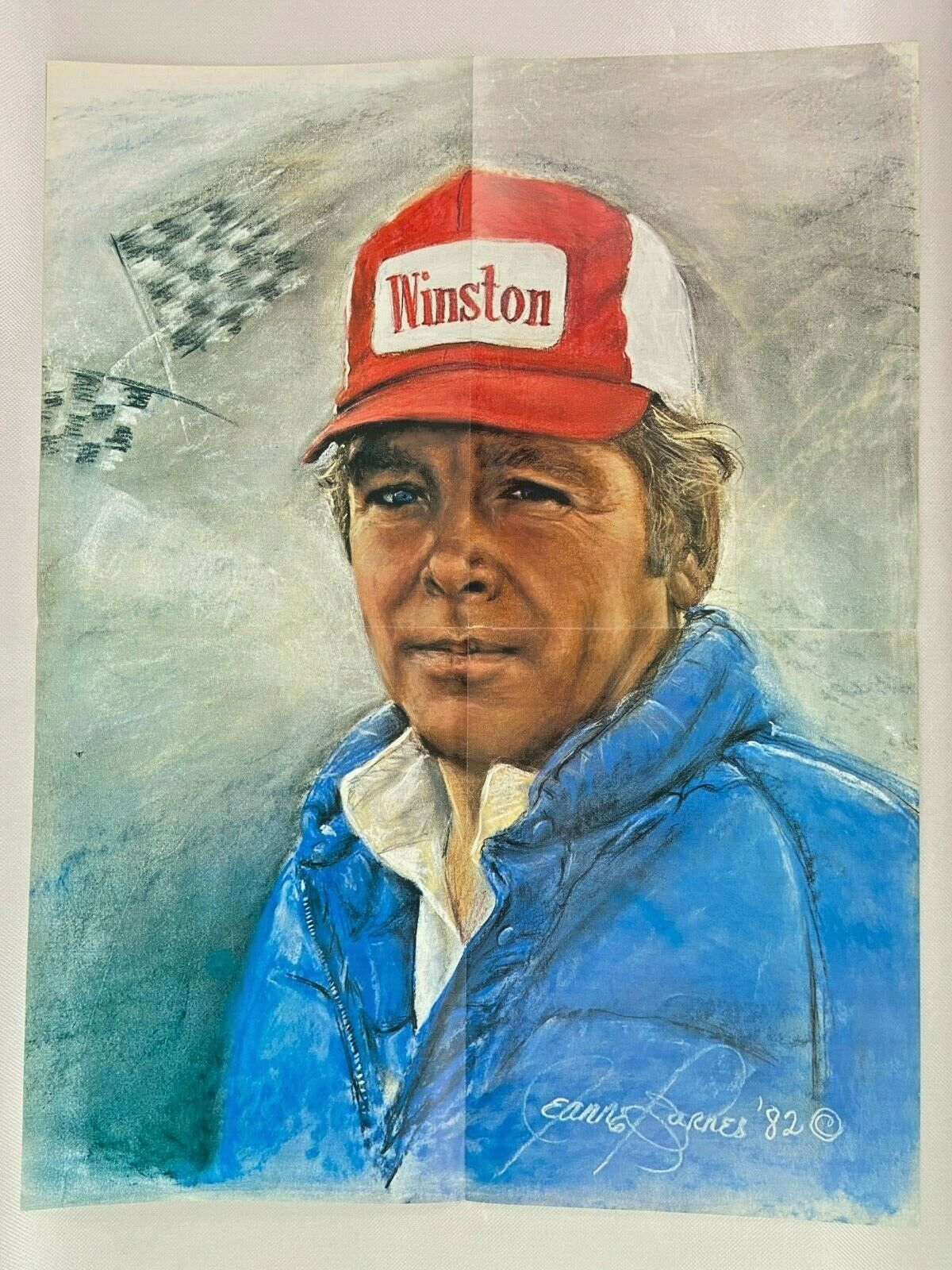 Primary image for Buddy Baker Print Poster Winston NASCAR Painting 16 x 21 Race