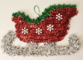 "Christmas House Tinsel Sled Silver Red Green Wall Decor, 13.58"" X 9.06"" w - $5.99"