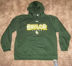 Under Armour Baylor Bears Hooded Sweatshirt Green Storm Fit Mens L Large Lg - $42.03