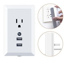 Multi Wall Outlet Plug Adapter, Plug-in Night Light, Warm White LED Nightlight,