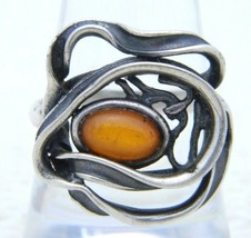 VTG .925 Sterling Silver POLAND J Baltic Amber Modernist Ring 7.25 - $123.75
