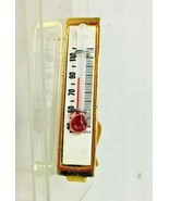 Vintage Glass Thermometer Tie Clasp Bar Gold Tone Metal T6 - $28.22