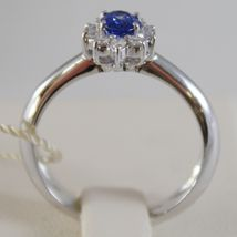 18K WHITE GOLD FLOWER RING, DIAMOND & OVAL BLUE SAPPHIRE, 0.65 MADE IN ITALY image 3