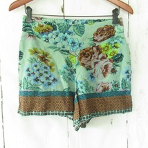 Maeve By Anthropologie Shorts Size 6 Green Floral High RiseSide Zip Boho... - $18.50
