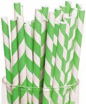 Lime Green Striped Paper Straws 24 Pack - $126,56 MXN