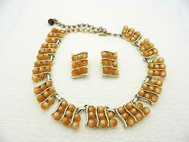 VTG CHAREL Signed Gold Tone Orange Moonglow Thermoset Necklace Earrings Set - $19.80