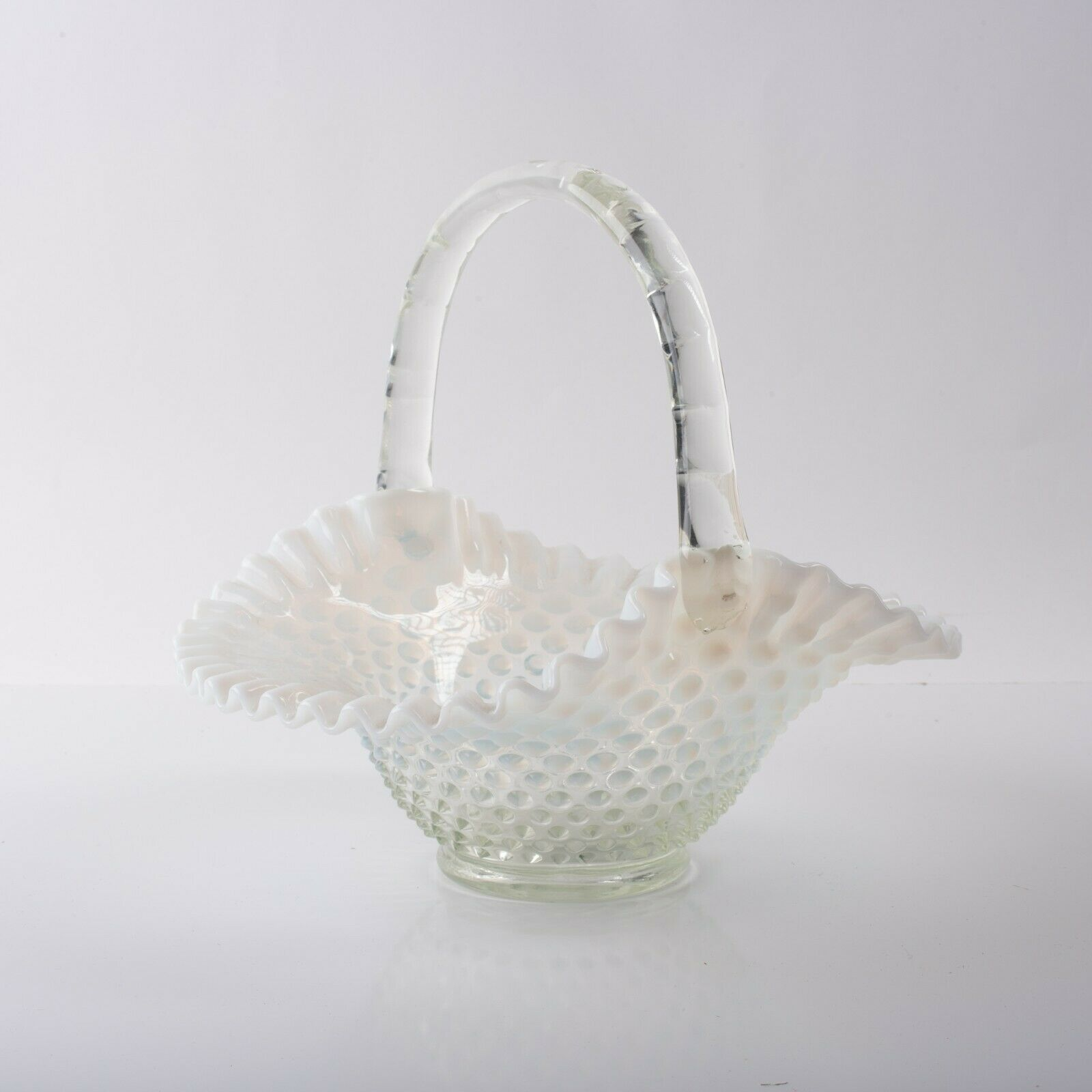 Fenton Opalescent Pale Blue White Hobnail Basket Clear Bamboo Handle 9 in Large - $98.01