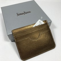 Neiman Marcus Women's Slim Crosshatched Leather Card Case / Wallet.Dark Gold - $26.18