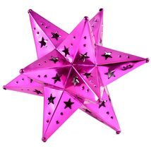 """Small 6.5"""" Hanging Tin Pink Fuchsia Mexican Moravian Star Ornament Decoration image 3"""