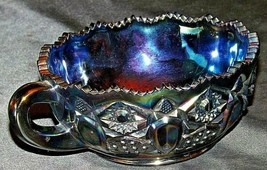 Carnival Glass Bowl with Handle by Smith AA20-7125 Vintage - $99.95