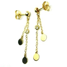 18K YELLOW GOLD PENDANT EARRINGS, DOUBLE WIRES WITH DISCS & ZIRCONIA 1.5 INCHES  image 2
