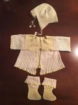Antique Vintage Handmade Yellow Off White Hat Cardigan Bootie socks Baby... - $41.12