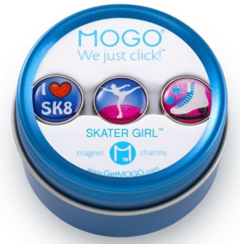 MOGO Magnetic Charms SKATER GIRL Round Tin w/ 3 Charms BIRTHDAY PARTY FAVORS NEW