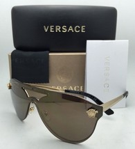 New VERSACE Sunglasses VE 2161 1002/F9 Gold & Black Frames w/ Brown+Gold Mirror