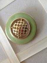 Vintage Weekenders Jewelry Sea Green Enamel Round Gold Tone Fashion Brooch - $35.00