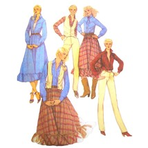 An item in the Collectibles category: Vintage McCalls Sewing Pattern 6937 Misses Shirt Vest Skirt Pants Western 14 FF