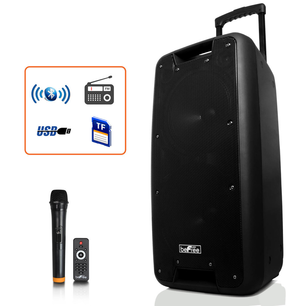 beFree Sound Dual 10 Bluetooth Portable Rechargeable Party Speaker with USB/TF,
