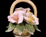 81582a floral porcelain basket peachy pink flower blossoms miniature mini figurine thumb155 crop