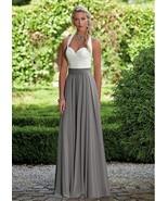 Unique Chiffon Halter Neckline Full Length A-line Bridesmaid Dresses Wit... - $159.00