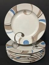 "222 Fifth CIRRUS Set of 7 Salad Plates 8"" PTS International Porcelain PD19 - $27.99"
