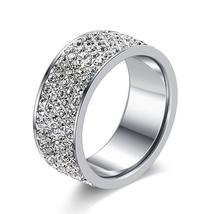 New Brand Silver Color Stainless Steel 5 Rows CZ Stone Fashion Engagement Weddin