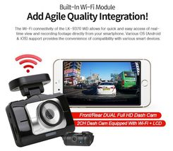 "Lukas LK-9370 Blackbox Dash Camera 2CH Full HD Wi-Fi 3.5""LCD Dual 64Gb+8Gb+GPS image 6"