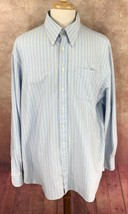 Charles Tyrwhitt Men's Button Down Long Sleeve Blue Stripe Oxford Shirt XXL  image 2