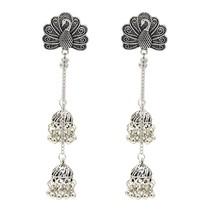 Fashion Long Bell Tassel Earring Vintage Peacock Earring For Woman Silver - $25.99
