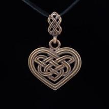 Celtic Heart Pendant, Celtic Knot, brass, handmade - $22.95