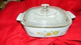 Corning Ware Floral Bouquet A-1-B Casserole Dish + Pyrex P-7-C Lid Free Usa Ship - $26.17