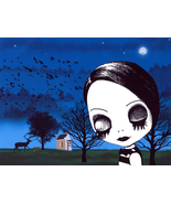 goth girl big eye child sleep walking original art print landscape night... - $9.99