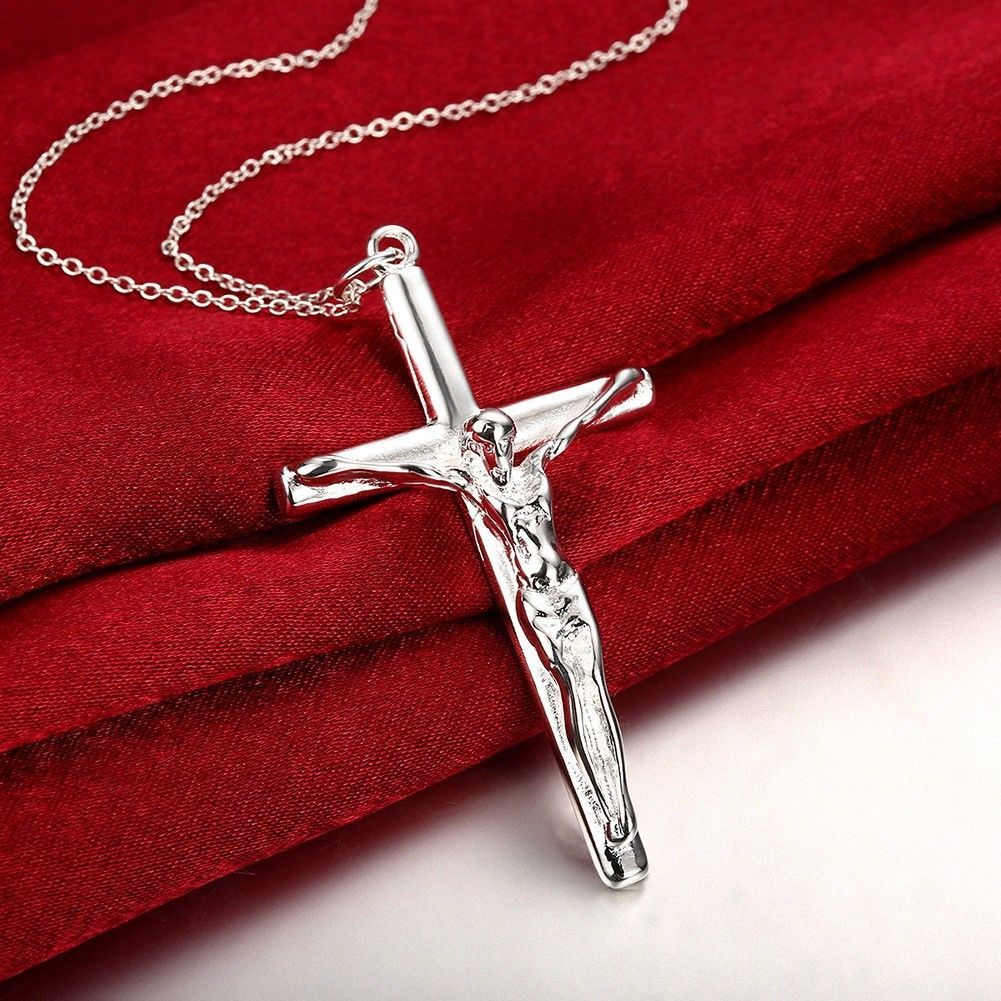 """Women's 925 Sterling Silver Small Simple Cross Pendant Necklace 18"""" Faith N42"""
