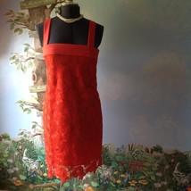 Banana Republic Orange Floral Scalloped Hem Sleeveless Lace Dress Size 10 - $73.26
