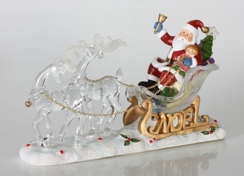 "Primary image for Lighted Santa Claus, sleigh & reindeer new 7"" by Sterling"