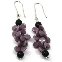 PENDANT EARRINGS PURPLE BLACK MURANO GLASS, BUNCH OF PETAL DROPS MADE IN ITALY image 1