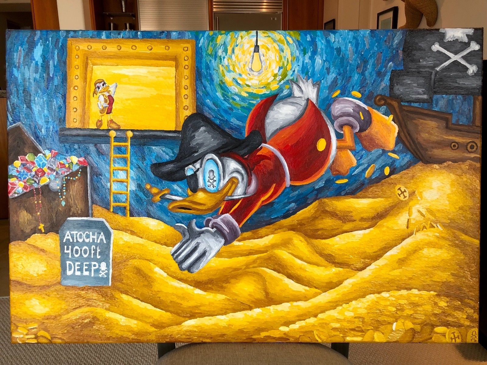 Primary image for Treasure Painting JR Bissell: Scrooge Atocha Shipwreck Pirate Gold Coin Escudos