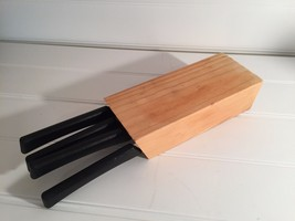 SET 4 IKEA KITCHEN KNIVES KNIFE  BLOCK Wood Wooden 20415 - $41.71