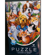Jigsaw Puzzle Cats Dogs 500 Piece Cardinal Industries Yarn Knitting Kitt... - $4.99