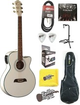 Oscar Schmidt OG10CEWH Acoustic Electric Guitar w/Padded Gig bag + More!!!! - $219.90