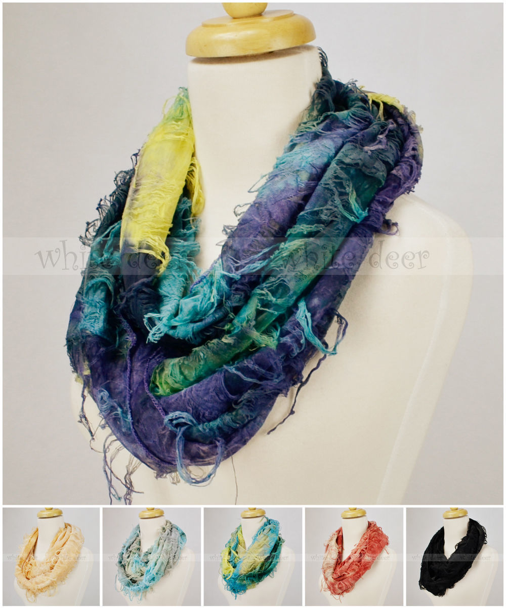 Primary image for Multi Color Infinity Scarf Tie Dye Burnout Butterfly Tear Fringe Circle Loop