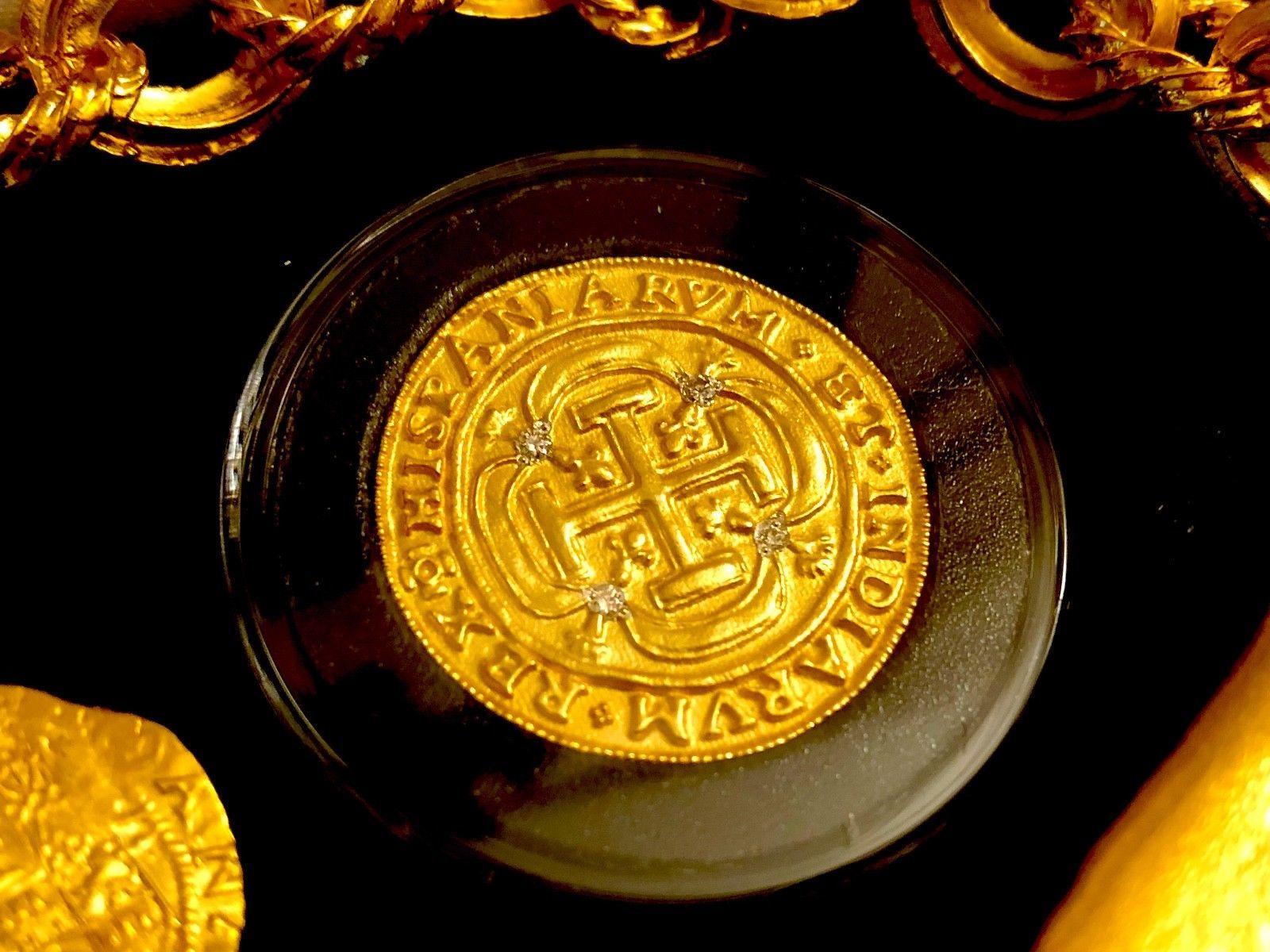 ROYAL DIAMONDS MEXICO 1715 FLEET 8 ESCUDOS GOLD PLT DOUBLOON TREASURE COIN