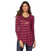 Love Twiggy Handkerchief Tee, Pink/Black Stripe, Small - $15.83