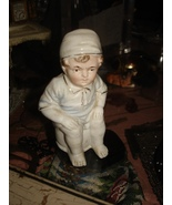 VTG VICTORIAN BISQUE BOY in NIGHT GOWN & CAP on POTTY CHAMBER POT FIGURINE - $19.95