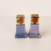 Vintage Lusterware Salt Pepper Shakers Made in Japan Hand Painted Floral... - $9.99