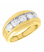 Christmas Gift For Him Mens Diamond Band Ring 14k Gold Finish 925 Solid ... - £53.57 GBP
