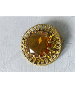 Vintage Soviet Brooch with Yellow Rhinestone Bridal Accessories Retro Br... - $21.00