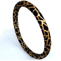 PANDA SUPERSTORE Fashion Design Classic Leopard Girl Steering Wheel Cover,Golden