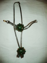 Antique Emerald Green Gold Flecks Round Glass Cabochon Chunky Necklace B... - $82.05